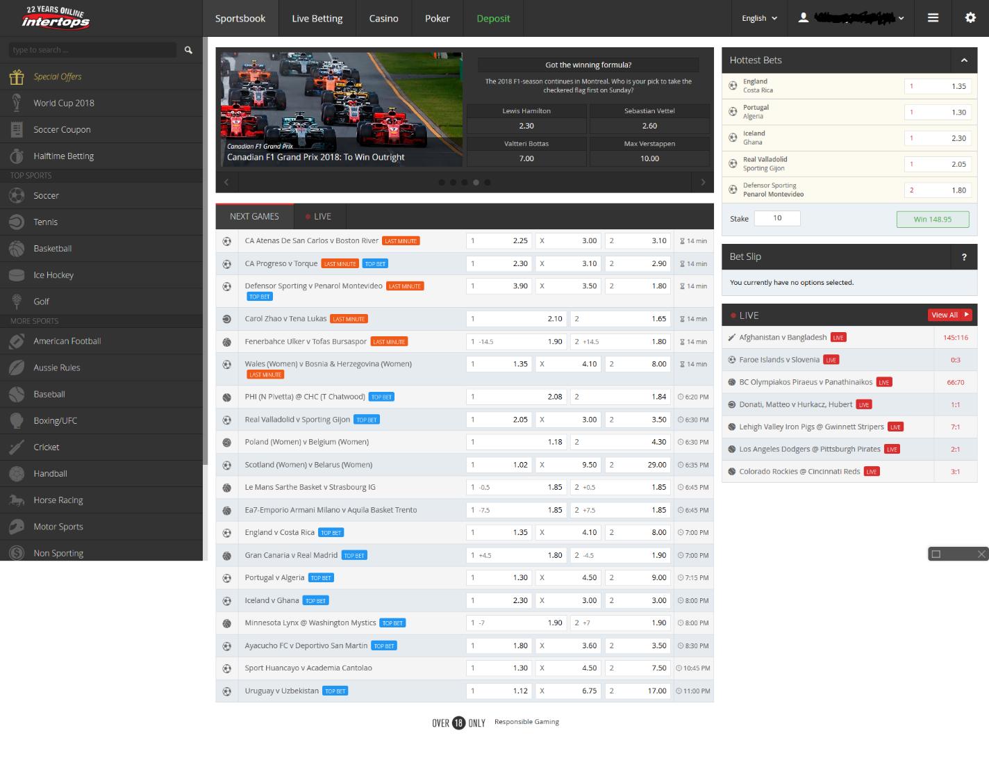 Intertops Bitcoin gambling site sportsbook
