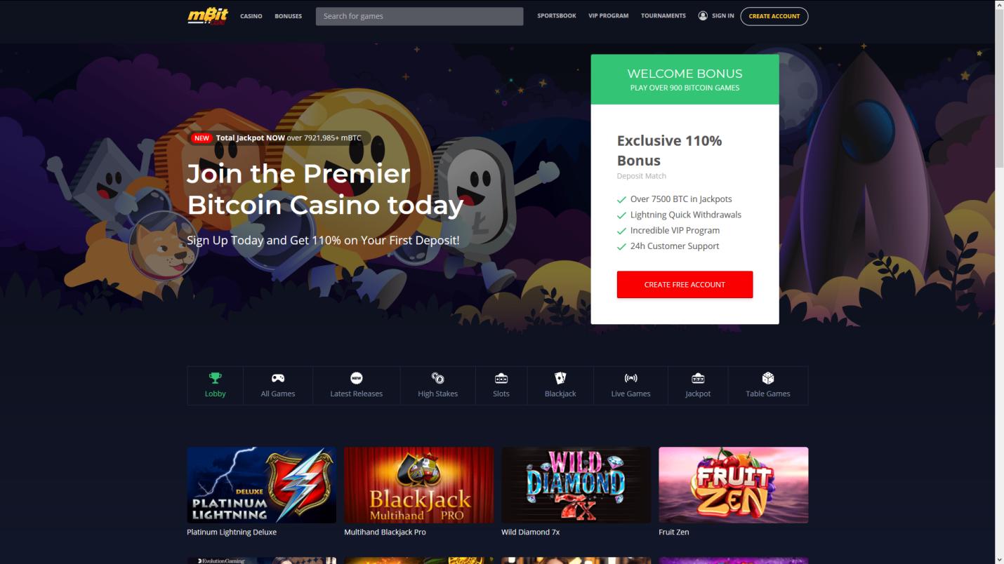 Homepage of Bitcoin casino mBit Casino