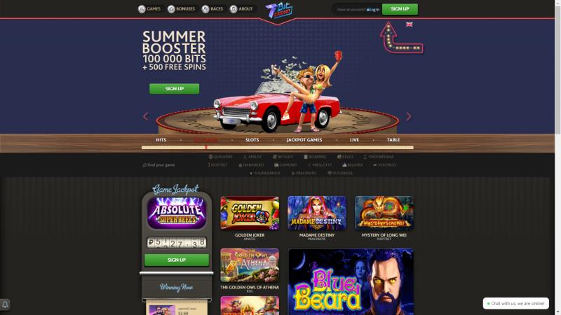 Bitcoin gambling website 7Bit Casino homepage