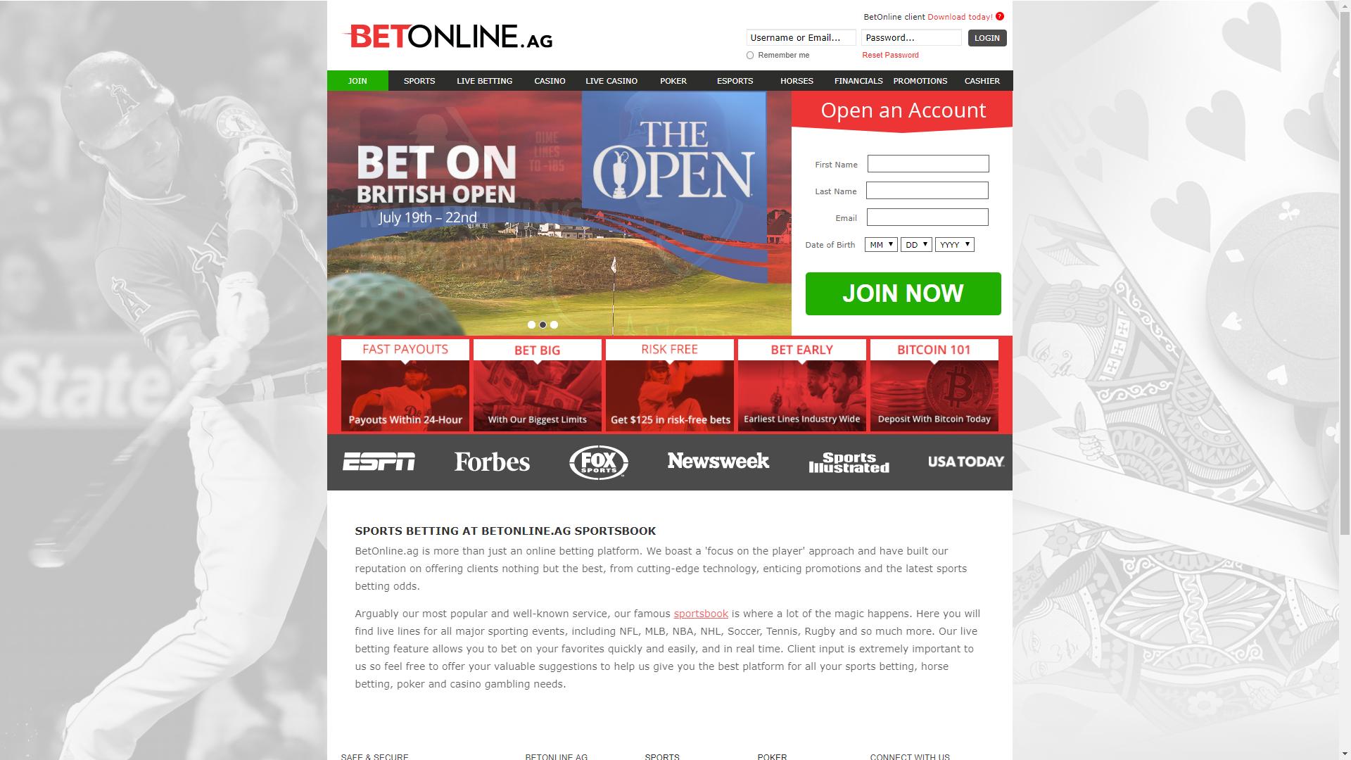 Bitcoin gambling website betonline homepage