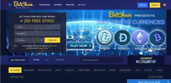 Bitcoin Casino Betchain Homepage