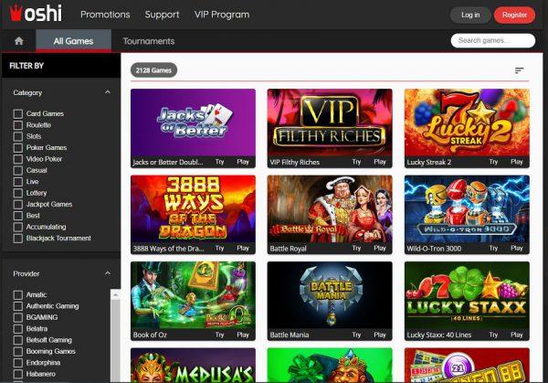 Bitcoin casino Oshi casino page